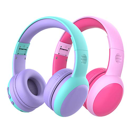 gorsun Bluetooth Kids Headphones with Microphone,Children's Wireless Headsets with 85dB Volume Limited Hearing Protection,Stereo Over-Ear Headphones for Boys and Girls (Pink+Purple)