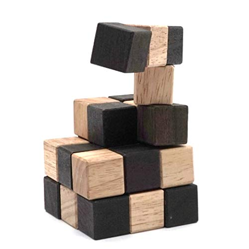 Snake 3D Wooden Puzzle Classic Games (M Size) and Mind Puzzles for Adults in Hand with Wooden Cube Designs of Magic Game for Educational Brain Games for Kids to Challenges Brain Teasers Puzzles Kids