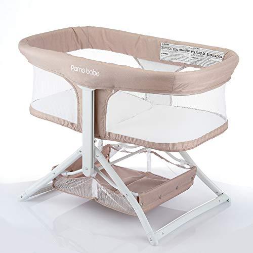 2in1 Bassinet Quick Foldable Travel Crib Portable Rocking Bassinet(Khaki)