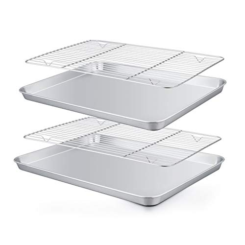 TeamFar Baking Pan with Rack Set 4, 12.5'' x 10'' x 1'', Stainless Steel Toaster Oven Baking Pan with Cooling Rack, Healthy & Non Toxic, Easy Clean& Mirror Finish, Dishwasher Safe - (2 Pans + 2 Racks)