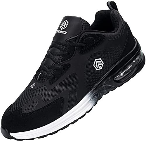 Fenlern Zapatillas de Seguridad Hombre Ligeras Zapatos de Seguridad Trabajo Punta de Acero Calzado de Seguridad con Colchón de Aire (Negro de Carbón,43 EU)
