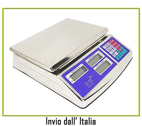 newnet Bilancia Elettronica Digitale da banco (Bar, Macelleria, Fruttivendolo ECC.) Piatto in Acciaio Inox Max 40Kg