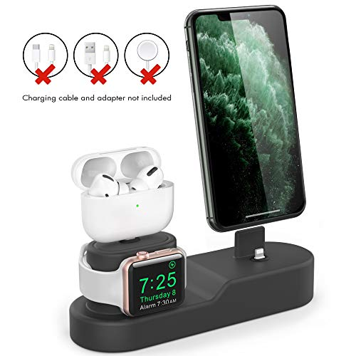 AhaStyle 3 in 1 Charging Stand Silicone Desktop Dock Holder [Chargers NOT Included] Compatible with Apple Watch, AirPods Pro/AirPods / AirPods 2 and All iPhone Models(Dark Grey)