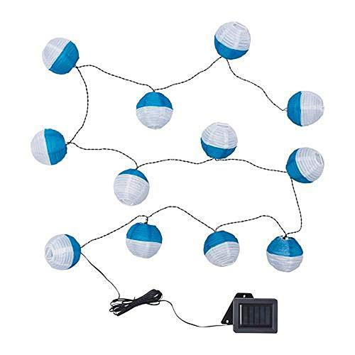 IKEA Solvinden Lichterkette 12 Lampions rund Solar LED - weiß blau - für draußen