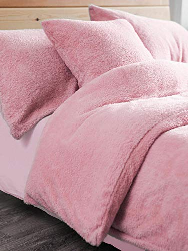 Starhomeware Teddy Bear Duvet Quilt Cover Sets Warm & Cozy Fluffy with Pillow Case Single Double King Super King (Pink, King)