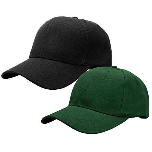 2pcs Baseball Cap for Men Women Adjustable Size Perfect for Outdoor Activities Black/Hunter Green