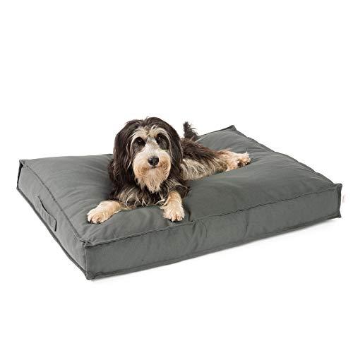 JAMAXX Premium Hundekissen - Orthopädisch Memory Schaumstoff-Flocken, Waschbar Abnehmbarer Bezug Wasserabweisend - Hundebett mit Canvas Stoffbezug PDB1007 (M) 90x70 grau