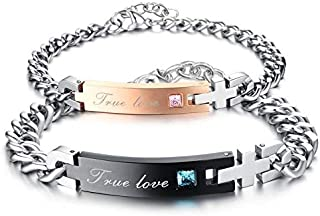Fashion Ture Love Shining Couple bracelet For Man and Women -Pink Blue