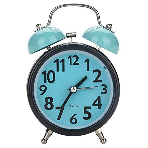 iFCOW Doble Bell Ultra Silencioso Reloj de alarma mecánico Movimiento de cuarzo Mesa de escritorio Reloj de noche (azul)