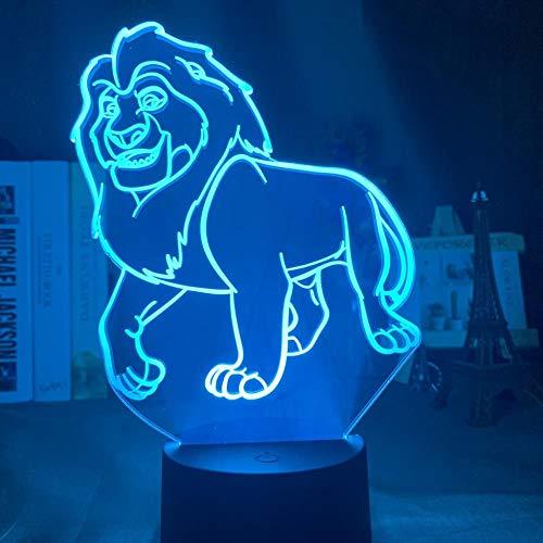 Veilleuse nouveauté visuelle 3D Illusion Simba Lion King adapté pour chambre enfants anniversaire cadeau de Saint Valentin - noir Base_Mufasa