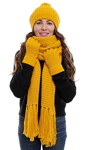 Hilltop Winterset 3-Teilig aus Strickschal, Strickmütze und Handschuhen, XXL-Schal mit Fransen, Winter-Schal, Damen Schal mit passender Mütze, Bommelmütze, Curry