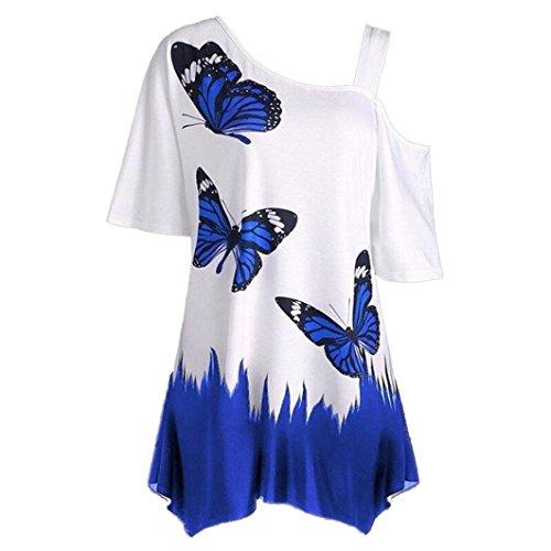 TUDUZ Damen Sommer Große Größe Schulterfrei Schmetterling Druck Kurzarm T-Shirt Festliche Oberteile Tops Bluse(L,Dunkelblau)
