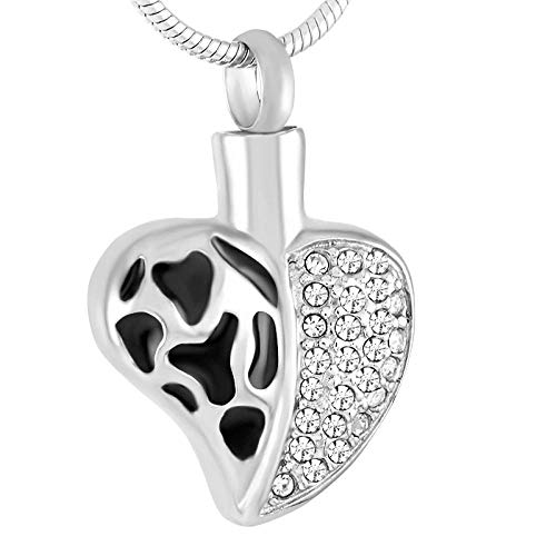 Gulunmun Ashes Pendant Jewelry Dog Urns Memorial Urn Neckalce Pendant A Half Crystal Heart Stainless Steel Cremation Jewelry From Ashes Of Loved Ones - Keepsake