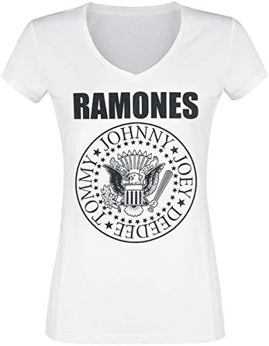 Ramones Eagle Logo Frauen T-Shirt weiß L 100% Baumwolle Band-Merch, Bands