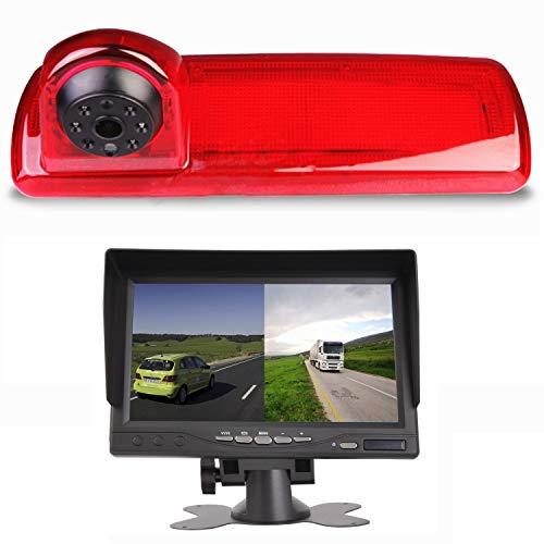 "HD 720p Dachkante Einparkhilfe Rückfahrkamera integriert in 3. Bremsleuchte Kamera für Opel Vivaro B, Renault Trafic Nissan NV300 ab 2014 + 7.0\"" Zoll DVD Monitor TFT Bildschirm LKW KFZ LCD Display"