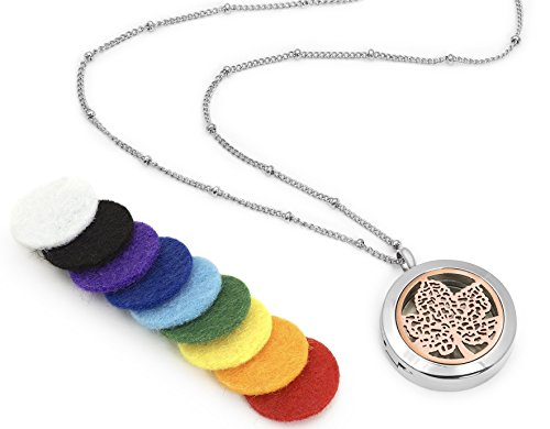 Leaf of Serenity Essential Oil Diffuser Necklace - Aromatherapy Jewelry - Hypoallergenic 316L Surgical Grade Stainless Steel, 20.8' Chain + 9 Washable Insert Pads (Rose Gold and Silver)
