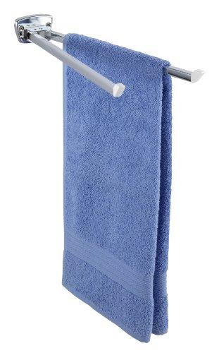 WENKO Handtuchhalter Basic - 2 bewegliche, eckige Arme, Edelstahl rostfrei, 8 x 5,5 x 42 cm, glänzend
