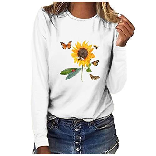Andouy Damen Oberteile Modisch Drucken Basic Sweatershirts Langarm Rundhals Pullover Weiche Bluse(S.Weiß-5)