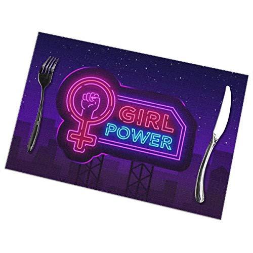 NE Mädchen Power Neon Sign Mode Slogan Feminist Platzsets Set von 6 für Esstisch waschbar Polyester Tischsets rutschfest hitzebeständig Küchentisch Matten leicht zu reinigen 30,5 x 45,7 cm