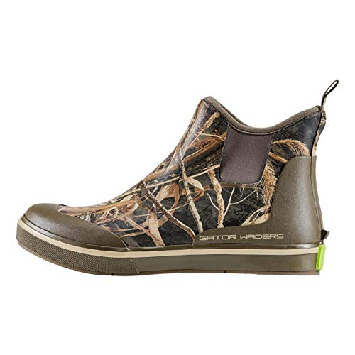 Gator Waders Mens Camp Boots, Realtree Max 5, Size 12 - Ankle High Waterproof Shoes for Rain and Mud, Fishing, Hunting, and Camp Wear