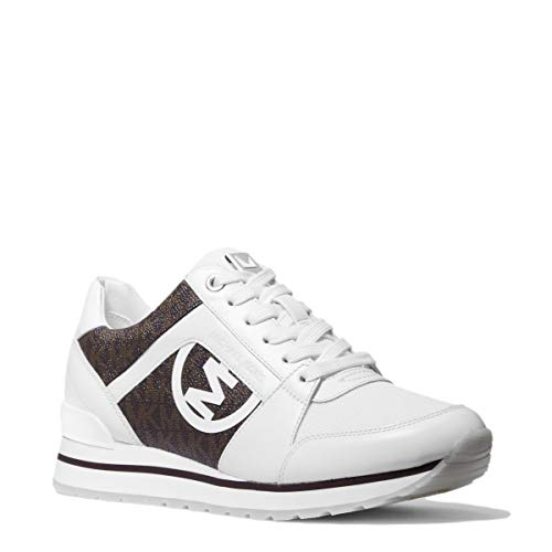 Michael Kors Zapatillas Deportivas para Mujer Billie Trainer con Logos Modelo 43S1BIFS1B Color Blanco/Marron (272 OpWhite/Brown). (Numeric_39)