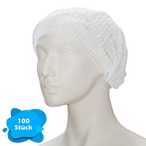 Klipphauben 52 cm in Weiß   100 Stück   Haarnetz Spinnvlies Einweghauben - luftdurchlässig & latexfrei   Ideal für Hygienebereiche