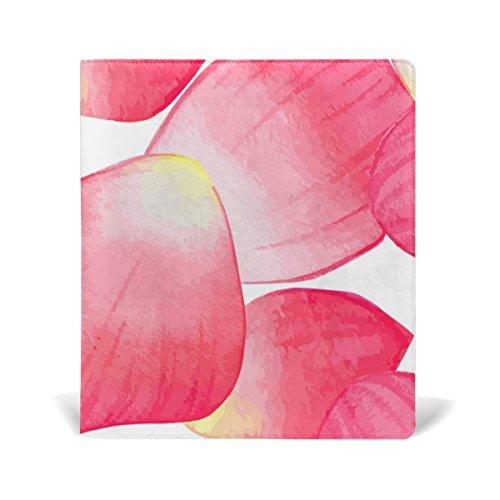 COOSUN Rosa Blütenblätter Buch Sox dehnbare Buchdeckel, geeignet für die meisten Hardcover Lehrbücher bis zu 9 x 11. leimlose, PU-Leder-Schule-Buch-Schutz 9-x-11-Zoll mehrfarbig
