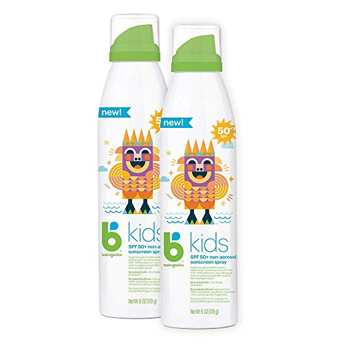 Babyganics Kids Sunscreen Continuous Spray 50 SPF, 6oz, 2 Pack, Packaging May Vary