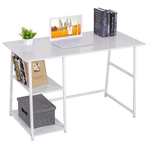 WOLTU® Schreibtisch TSB33ws Computertisch Bürotisch Arbeitstisch PC Laptop Tisch, mit 2 Ablagen, aus MDF und Stahl, 120x60x76cm(BxTxH)