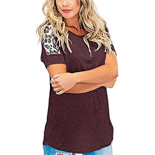 Sudaderas con Cuello Redondo de Mujer Casual de Manga Corta Camisetas Sueltas de túnica Tops Béisbol Casual Suéteres de Bloques Top con Estampado de Leopardo Camisas y Blusas Casuales de Manga Corta