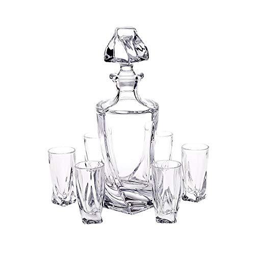 CRISTALICA Wodka Geschenkset Laguna Spirit 7-TLG. Likör Karaffe + 6 Gläser Bleikristallglas