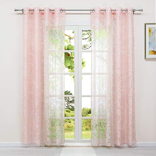 Heichkell Voile Tüllgardine mit Ösen Ausbrennerqualität Vorhang Transparenter Gardinenschal 1PC gardinenstore Pink BxH 140x225cm