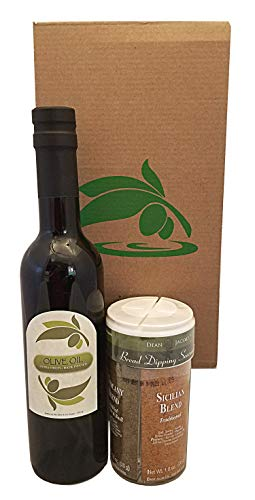 Bread Dipping Party Set of Basil Infused Organic Extra Virgin Olive Oil 375ml and 4 Flavor Bread Dipping Seasoning, - enjoy your social gathering with this gourmet oil bread dipping gift kit