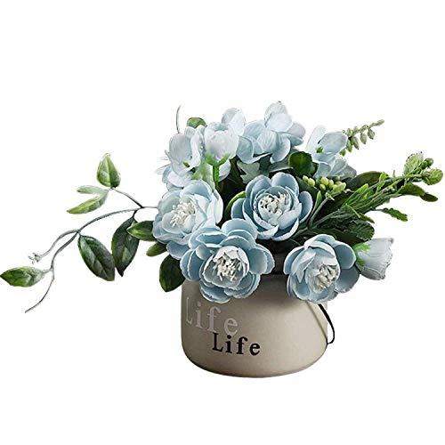 OIJN Planta artificial de Camelia Bonsai de cerámica en maceta, planta artificial para el hogar, jardín, arreglo de flores, decoración (azul)