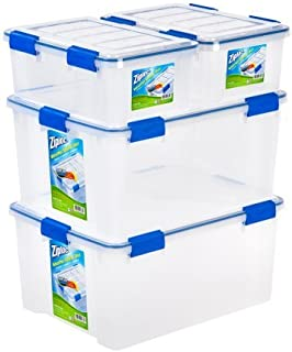 Ziploc 16 and 60 Quart WeatherShield Storage Box, 4 Pack, Clear