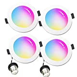 Smart Downlight 6 inch, WiFi LED Recessed Drywall Lighting, 15W Ceiling Down Lighting Voice Control via Alexa Google Assistant Siri, RGBCW Multicolor Color Changing Light Bulb (4 Packs)