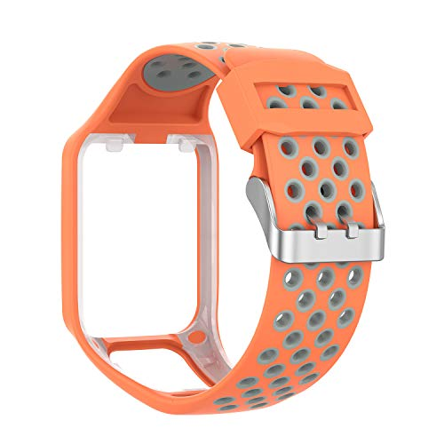 RuenTech Compatible with Tomtom Spark 3 / Runner 2 3 / Golfer 2 Watch Band, Replacement Silicone Straps Wristband Sport Band Compatible for Runner 2 3 and Spark 3 (Orange&Gray)
