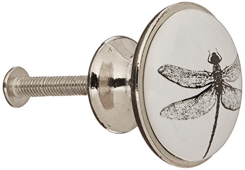 Abbott Collection Small Black and White Dragonfly Knob