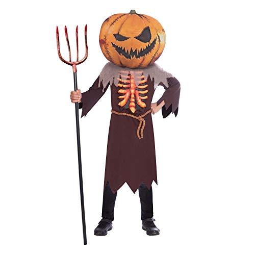 amscan Disfraz infantil de Scary Pumpkin Big Head de 4 a 6 aos, color marrn/naranja (9907138)