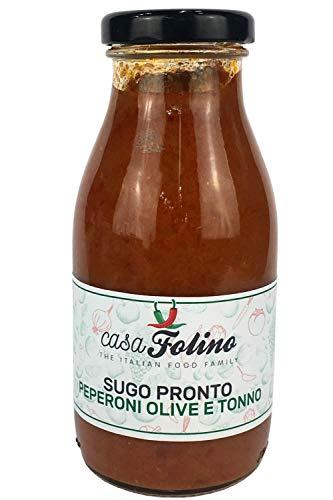 Sugo Calabrese Pronto con Peperoni, Tonno e Olive 250 Ml. Il condimento per eccellenza, utilizzato per primi piatti semplici e tradizionali. CasaFolino. Made in Italy.