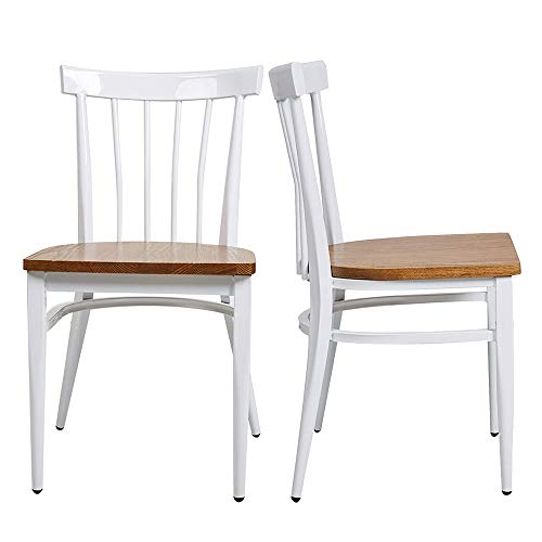 Modern White Armless Dining Chairs Set of 2 -Heavy Duty Wood Seat and Iron Frame Kitchen Side Chairs for Restaurant Cafe Bistro,Ergonomic Design,Comb Back