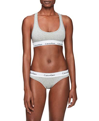 Calvin Klein Women's Modern Cotton Bralette and Bikini Set, Grey Heather, Small