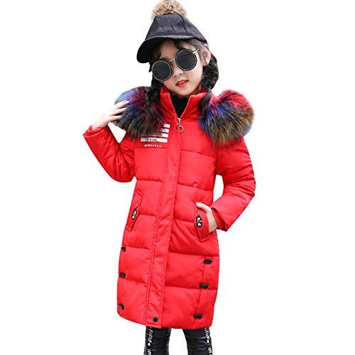 LSERVER Winter Mädchen Verdickung Farbe Pelzkragen Daunenjacke Lange Winterjacke, Rot, 146(Fabrikgröße: 150)
