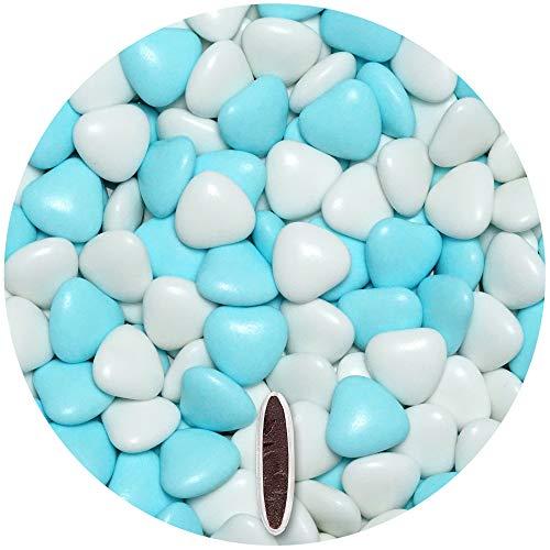 EinsSein 1kg Corazones de Chocolate grageas boda bautizo Mezcla medio blanco-azul claro brilla corazon amor formas bombones confeti peladillas candy bar cumpleaos nios regalos Tradicin italianas