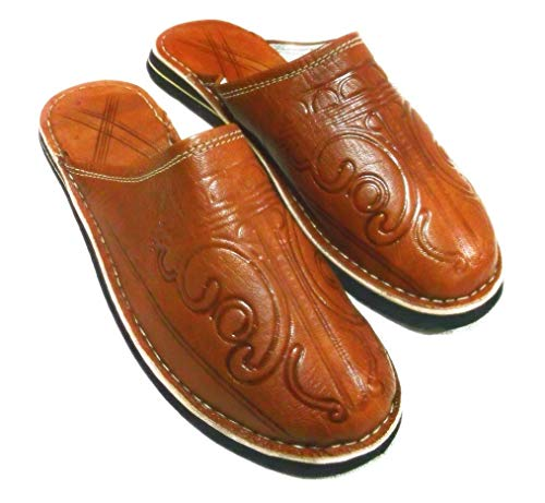 Shoe slippers men, leather slippers, brown,shoe, babouches outdoor slippers,men slippers,shoes unisex outdoor slippers with arch support for women and men slippers all sizes.