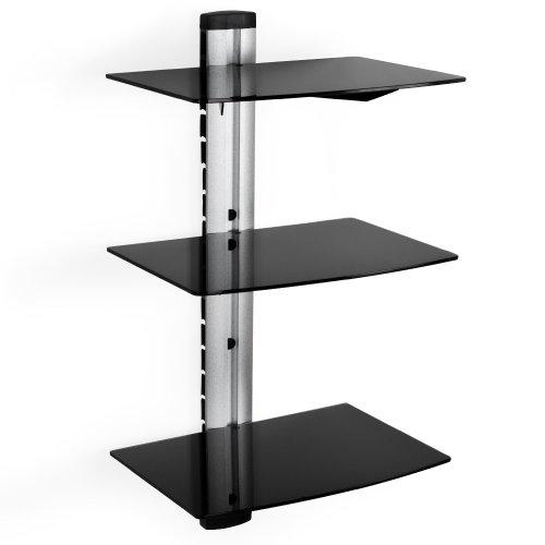 TecTake Wandregal Glasregal TV Wandhalterung für Blu-ray DVD Player Receiver Hifi Geräte - diverse Modelle - (3 Ablagen Schwarz/Silber (400349))
