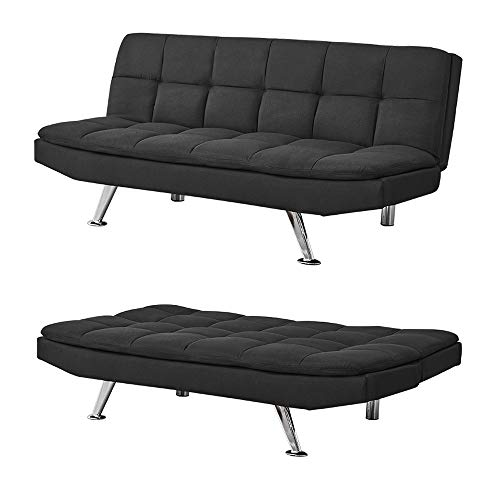 3 Seater Sofa Bed Modern Fabric Sofa Padded Sofabed Couch Settee Recliner Click Clack Sofa For Living Room Guest Room Spare Room Office (Fabric Black)