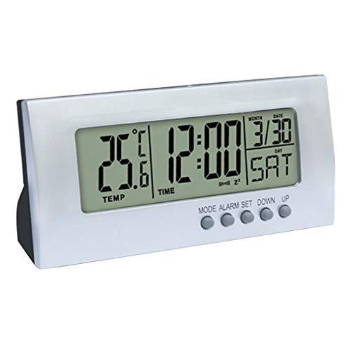 MagiDeal Reloj Despertador Digital LCD de Escritorio con Pantalla de Temperatura Interior, Batería