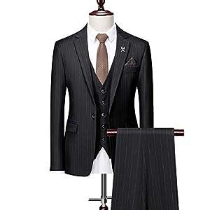 礼服 フォーマルスーツ メンズ スリーピース 3点セット タキシード 就職活動・ビジネス・卒業式とウエディングに最適 本格ラグジュアリードレススーツセット ブラック/グレー/ブラウン,黒,5XL