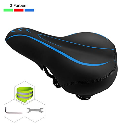 YOLEO Bike Saddle - Comfortable Bicycle Seat with Shock Absorbing Sponge, Universal Replacement Cycling Seats, Water Proof Gel Bike Seat fits for Mountain Bike, Road Bike, Exercise Spinning Bikes